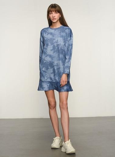 NGSTYLE NGKAW21EL0020 Batik Baskılı Sweatshirt Mavi